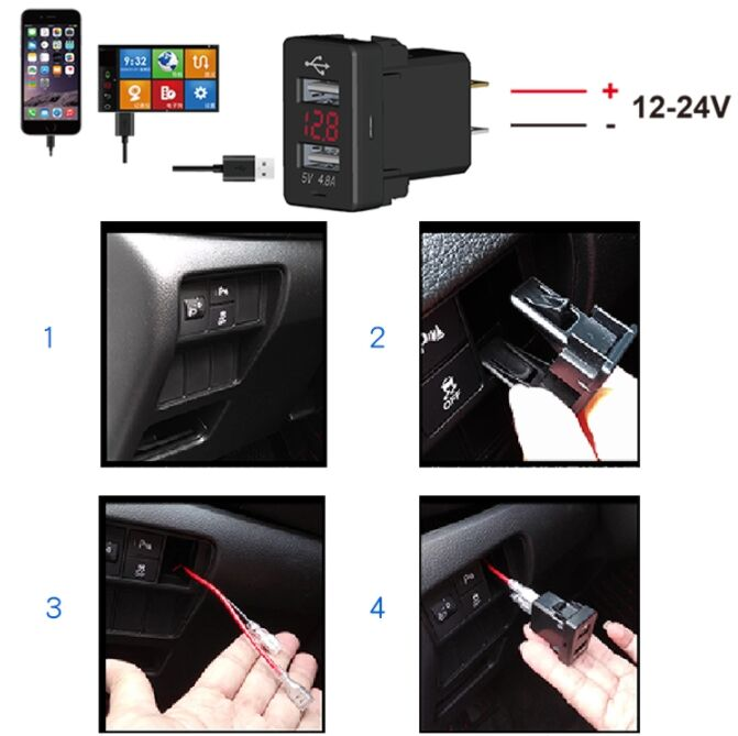 Quick charging Dual ports QC3.0 USB Car Phone Charger power socket For Car TOYOTA
