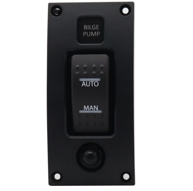 Watertight switch panel for bilge pumps